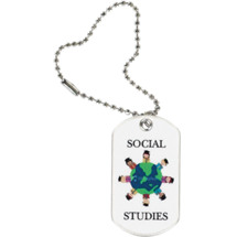 "1 1/8 x 2"" Social Studies Sports Tag with Key Chain"