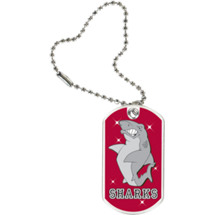 "1 1/8 x 2"" Sharks Mascot Sports Tag with Key Chain"