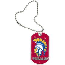 """1 1/8 x 2"""" Trojans Mascot Sports Tag with Key Chain"""