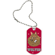 "1 1/8 x 2"" Wolves Mascot Sports Tag with Key Chain"