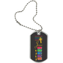 "1 1/8 x 2"" Jesus Rocks  Sport Tag with Key Chain"