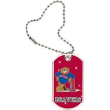 "1 1/8 x 2"" Beavers Mascot Sports Tag with Key Chain"