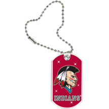 "1 1/8 x 2"" Indians Mascot Sports Tag with Key Chain"