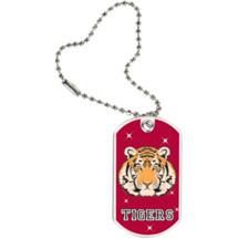 """1 1/8 x 2"""" Tigers Mascot Sports Tag with Key Chain"""