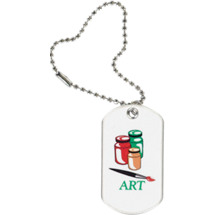 "1 1/8 x 2"" Art Sports Tag with Key Chain"
