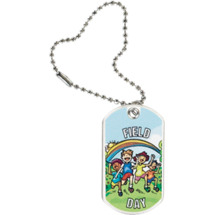 "1 1/8 x 2"" Field Day Sports Tag with Key Chain"