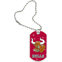 "1 1/8 x 2"" Bulls Mascot Sports Tag with Key Chain"