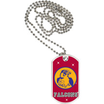 "1 1/8 x 2"" Falcons Mascot Sports Tag with Neck Chain"