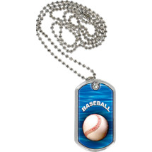 "Baseball Dog Tag - 1 1/8 x 2"" Baseball Sports Tag with Neck Chain"