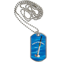 "1 1/8 x 2"" Field Hockey Sports Tag with Neck Chain"