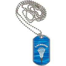 "Lacrosse Dog Tag - 1 1/8 x 2"" Lacrosse Sports Tag with Neck Chain"