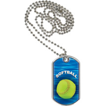 Softball Dog Tag - Softball Sports Tag with Neck Chain