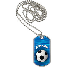 Soccer Dog Tag - Soccer Sports Tag with Neck Chain