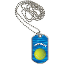 "1 1/8 x 2"" Tennis Sports Tag with Neck Chain"