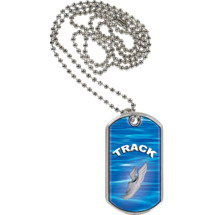 "1 1/8 x 2"" Track Sports Tag with Neck Chain"