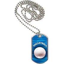 "1 1/8 x 2"" Volleyball Sports Tag with Neck Chain"