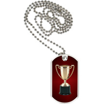 "1 1/8 x 2"" Achievement Trophy Sports Tag with Neck Chain"