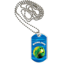 Bowling Dog Tag with Neck Chain