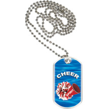 "1 1/8 x 2"" Cheer Sports Tag with Neck Chain"