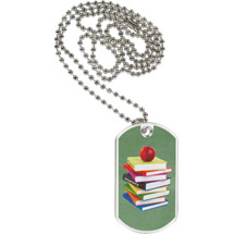 "1 1/8 x 2"" School Tag with Neck Chain"
