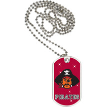 "1 1/8 x 2"" Pirates Mascot Sports Tag with Neck Chain"