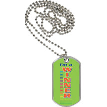 "1 1/8 x 2"" I'm a Winner Sport Tag with 24 in. Neck Chain"