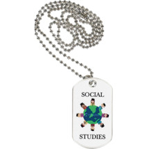 "1 1/8 x 2"" Social Studies Sports Tag with Neck Chain"