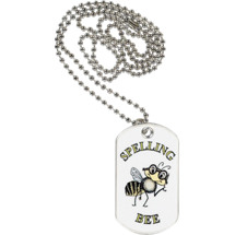 "1 1/8 x 2"" Spelling Bee Sports Tag with Neck Chain"