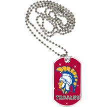 "1 1/8 x 2"" Trojans Mascot Sports Tag with Neck Chain"