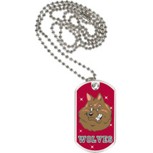 "1 1/8 x 2"" Wolves Mascot Sports Tag with Neck Chain"