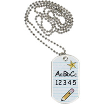 "1 1/8 x 2"" ABC Sports Tag with Neck Chain"