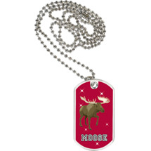 "1 1/8 x 2"" Moose Mascot Sports Tag with Neck Chain"