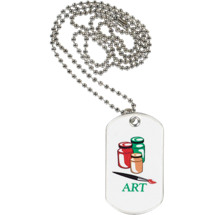 "1 1/8 x 2"" Art Sports Tag with Neck Chain"