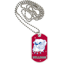"1 1/8 x 2"" Bulldogs Mascot Sports Tag with Neck Chain"
