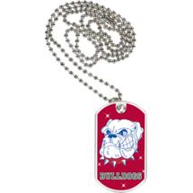 "1 1/8 x 2"" Bulldogs Mascot Sports Tag with Neck Chain"