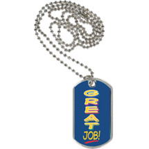 "1 1/8 x 2"" Great Job Sport Tag with 24 in. Neck Chain"