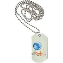 "1 1/8 x 2"" Lamp of Learning Sports Tag with Neck Chain"