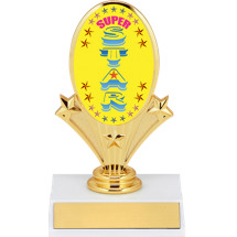 "5 3/4"" Oval Riser Trophy with a Super Star Emblem"