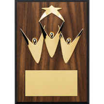 "5 x 7"" Team Work Plaque with a Gold-Tone Star and Walnut-tone Board"