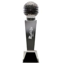 "2 1/8 x 8 1/4"" Optical Crystal Male Golf Award"