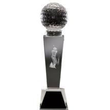 "2 1/8 x 8 1/4"" Optical Crystal Male Golf Award"