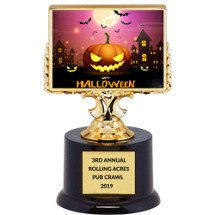 "Halloween Trophy - Black Acrylic ""Happy Halloween"" Trophy"