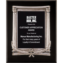 Black Piano Finish Silver Frame Plaque