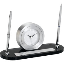 "8 1/2""x 4 3/4"" Gray Glass Clock and Pen Deskset"