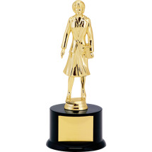 "11"" Black Acrylic Trophy with Female Saleswoman Figure"