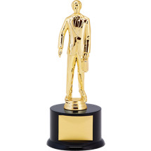 "11"" Black Acrylic Trophy with Male Salesman Figure"