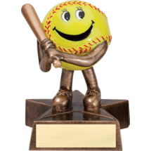 "4"" Resin Happy Softball Trophy"