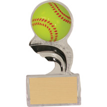 "Softball Trophy - 5"" Silhouette Clear Acrylic Trophy with a 3-D Molded Softball"