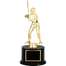 "Softball Trophy - 12 1/2"" Black Acrylic Trophy with Female Softball Batter Figure"