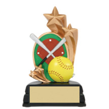 "6"" Softball and Stars Resin Trophy"